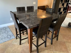 Marble Dining Set, 6 chairs plus free replacement chair! for Sale in Lynnwood, WA