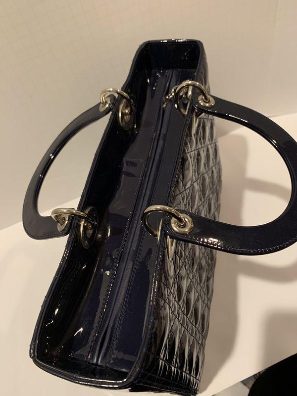 AUTHENTIC Christian Dior patent leather lady Dior navy blue handbag satchel