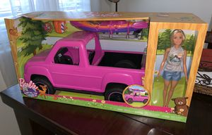 New Barbie Camping Fun Doll with Pink Truck and Sea Kayak for Sale in Stanton, CA