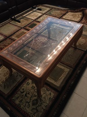 Wood coffee table with glass top for Sale in Smyrna, GA