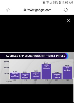 NATIONAL TITLE GAME CLEMSON VS LSU JAN 13TH Seats 103, and 104 for Sale in Baton Rouge, LA