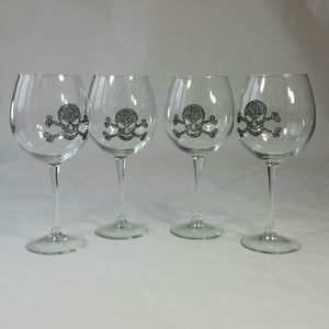 4 Wine Glasses Beaded Skull and Crossbones Long Stem 20 Ounces 9 inches High She Shed for Sale in Burr Ridge, IL