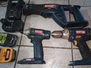 Ryobi set impact drill hammer drill and sawzall with 3 batteries and charger for Sale in Holiday, FL