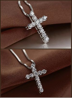 18'' Women 925 Sterling Silver Plated Crystal Punk Jesus Cross Pendant Necklace for Sale in Arlington, VA