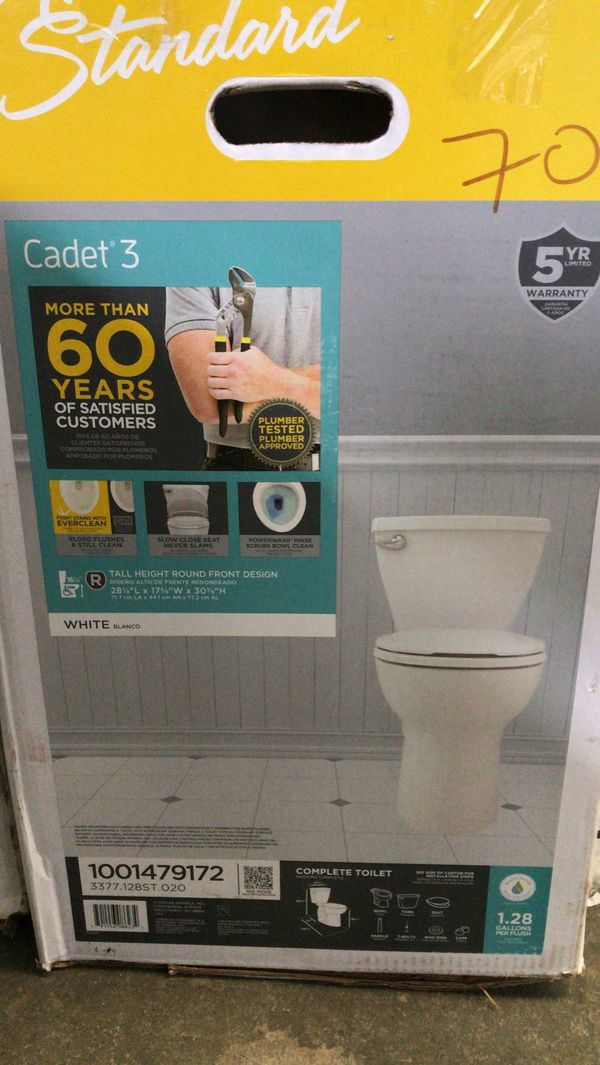 American standard cadet 3 tall height round front design flush toilet
