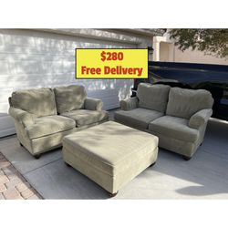 Two Olive/Beige Loveseat Couch Set and Ottoman With Free Delivery for Sale in Las Vegas,  NV