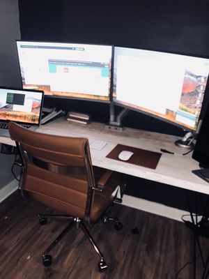 """Large Pine desk with two 27"""" Samsung OLED monitors and free monitor stand! for Sale in Nashville, TN"""
