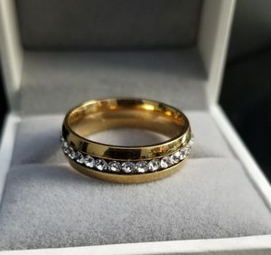 Men/Women 18k Yellow Gold over Stainless Steel CZ Diamond Wedding Band Size 6,7,8,9,10,11,12 for Sale in Aspen Hill, MD