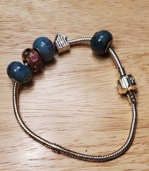 Vintage charm bracelet, glass European beads for Sale in Round Rock, TX