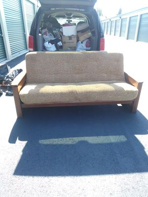 Solid queen wood futon bed w/ 12 inch thick spring core mattress Brand new never used for Sale in Cleveland, OH