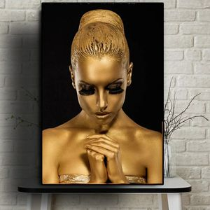 Black Gold Nude African Art Woman Oil Painting on Canvas Posters and Prints Scandinavian Cuadros Wall Picture for Living Room35 height 23 wide for Sale in San Jose, CA