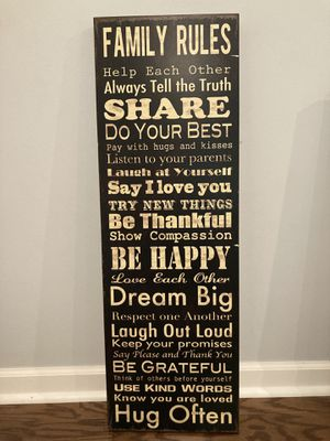 Family Rules Art Canvas Frame for Sale in Kannapolis, NC