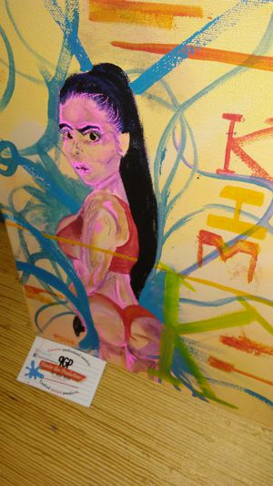 Brand new rare Kim Kardashian. Kim K original 11 x 14 canvas artwork paint @paintergus for Sale in Columbus, OH