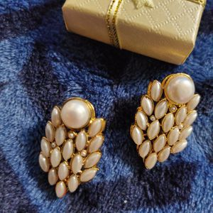 Pearl Gold Plated Stud Earrings for Sale in Woodlawn, MD