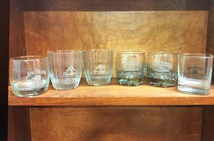 6 Collectible Whiskey Low Ball Glasses Crown Royal Jack Daniels Beam Omara's for Sale in Allen, TX