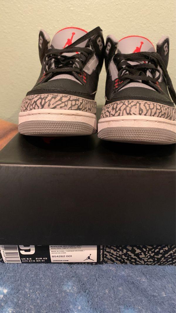 Jordan 3 black cement size 9.5