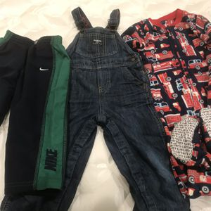 Oshkosh overall Carter's fire truck pajama Nike Pants for 24 M toddler for Sale in San Jose, CA