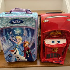 Frozen And cars Kids Suitcases. Barely Used Like New. for Sale in Clementon, NJ