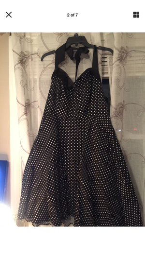 M isses ROCKABILLY PIN-UP Swing Dress cotton black with white polka dots Halter Top ' backless pristine size 1x 2x for Sale in Brecksville, OH