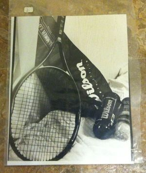 Black & White Darkroom Print 8x10 of Tennis Racket Wilson Balls & Cover for Sale in Hicksville, NY