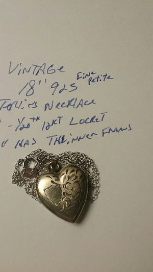 """Vintage Locket heart Necklace 18"""" 925 thin petite Chain and 1/20th 12kt Gold 1"""" heart LOCKET still has the inner frames to hold pictures for Sale in Laveen Village, AZ"""