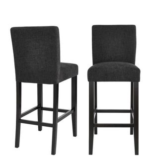 Banford Ebony Wood Upholstered Bar Stool with Back and Black Seat (Set of 2) (17.51 in. W x 44.29 in. H) by StyleWell for Sale in Dallas, TX