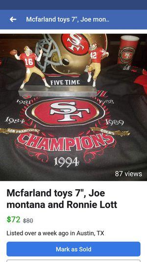 Mcfarland toys,joe montana,ronnie lot, 49ers for Sale in Austin, TX