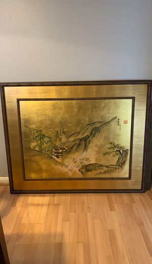 """Large Framed Asian Scene Picture 52 5/16"""" W x 42 1/4""""H for Sale in Puyallup, WA"""