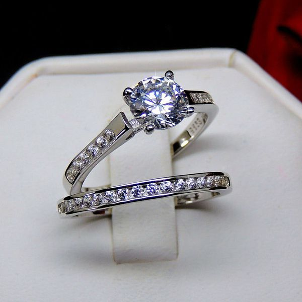 Victoria Bridal Set Sterling Silver 2Ct Engagement Ring Wedding Band