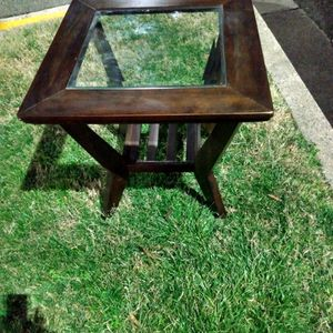 Wooden End Table 24x24. Glass Too Has A Small Chip On One Corner Otherwise Excellent Condition for Sale in Alexandria, VA