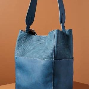 Anthropologie Tia Slouchy Bucket tote purse Blue With Brown Liner, hobo bag for Sale in Gresham, OR