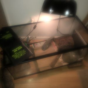 60 gallon tank with lid, large hide, feeding dish, heat mat, double dome light for Sale in Everett, WA