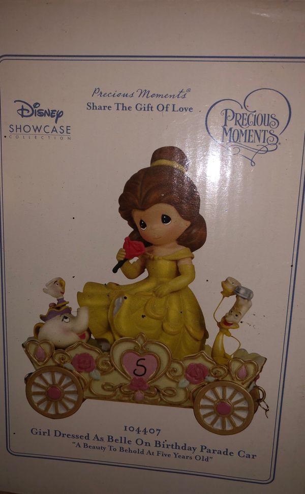 Precious moments Disney showcase girl dressed as belle on birthday parade car