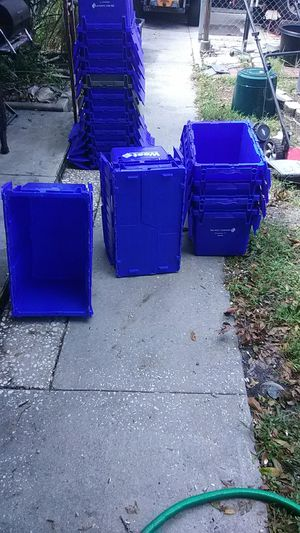 Plastic totes with lids $5 each by 10 or more for Sale in St. Petersburg, FL