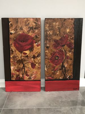 Original abstract textured painting float canvases set of 2 for Sale in Woodbridge, VA