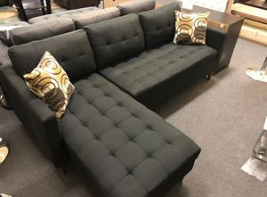 Brand New Black Linen Sectional Sofa Couch for Sale in Kensington, MD
