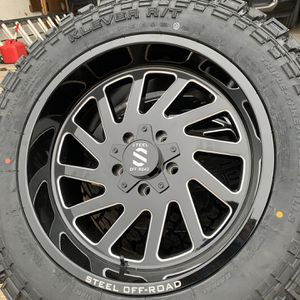 NEW 20x10 STEEL OFF-ROAD RIMS WITH 33x12.50R20 TIRES NEW for Sale in Grand Prairie, TX