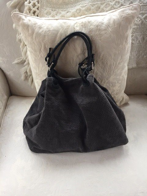 Dark grey suede bag from Italy