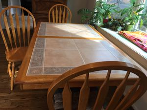Ceramic tile inlaid on wood kitchen/dining table for Sale in Oakton, VA