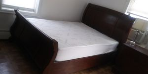 Queen size bed frame - free mattress for Sale in The Bronx, NY