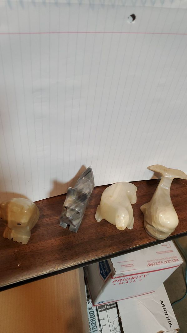 Carved stone animals
