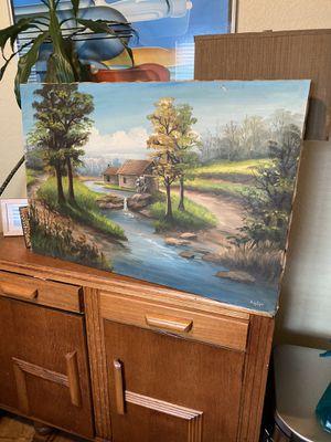 Beautiful Vintage Original Oil on Canvas Artist Signed Landscape Scenery. for Sale in Tampa, FL