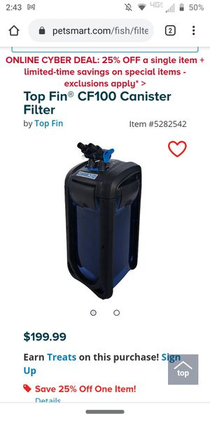 Top finn air filter for fish tank for Sale in Hinesville, GA
