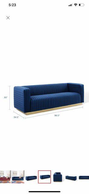 MODWAY Charisma Channel Navy Tufted Performance Velvet Living Room Sofa for Sale in Arlington, VA