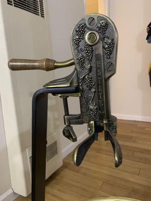 Estate Wine Bottle Opener/ Level Arm Crank Corkscrew Brass on Wood for Sale in Los Angeles, CA