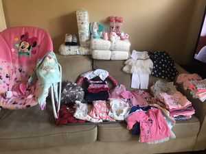 baby clothes for 0, 3,6, 12 months, stage 1 diapers and 2 bottles, socks wipe holders and more. for Sale in Imperial Beach, CA
