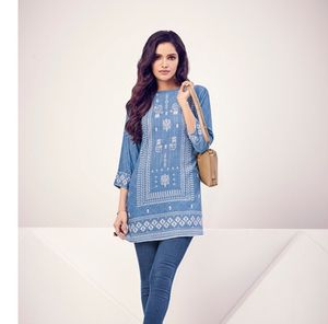 Brand new Jean blue color Indian kurti tunic for Sale in Manchester, CT