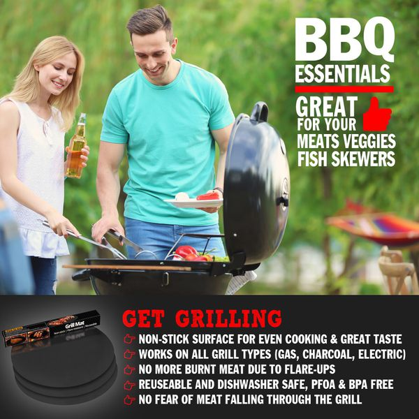 Grillor Round Grill Mats for Charcoal or Gas Grills