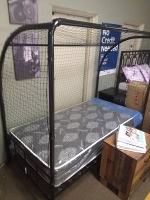 Black Twin size platform bed frame with soccer net and Cashmere Innerspring Mattress included for Sale in Glendale, AZ