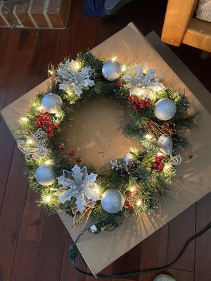 Lighted Christmas silver wreath for Sale in Littleton, CO